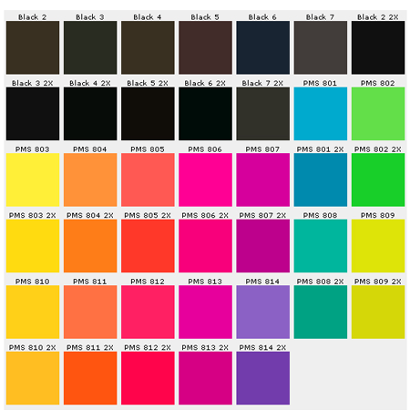 Custom Pins Color Chart Pantone Matching System